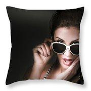 Retro Woman In Early Twenties Expressing Shock Throw Pillow