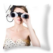 Retro Woman Looking Through Binoculars Throw Pillow