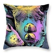 Rhino And Baby Throw Pillow