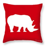 Rhino In Red And White Throw Pillow