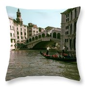 Rialto Bridge In The Grand Canal Throw Pillow