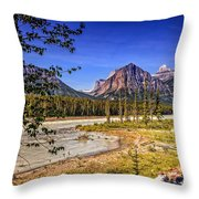 River And Mountains In Jasper Throw Pillow
