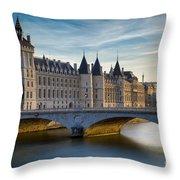 River Seine And Conciergerie Throw Pillow