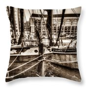 River Thames Sailing Barges Throw Pillow