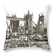 River Thames Sketch Throw Pillow