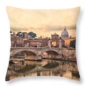 River Tiber In Rome Throw Pillow