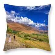 Road And Mountains Of Leh Ladakh Jammu And Kashmir India Throw Pillow