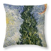 Road With Cypresses Throw Pillow