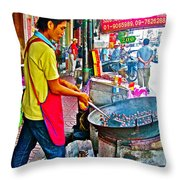 Roasting Chestnuts In China Town In Bangkok-thailand  Throw Pillow