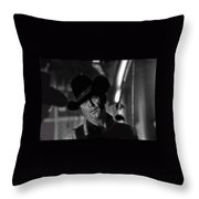 Robert Mitchum Conferring With Director Burt Kennedy Young Billy Young Old Tucson 1968 Throw Pillow