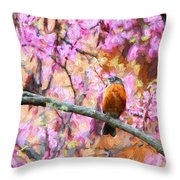 Robin In A Red Bud Tree Throw Pillow