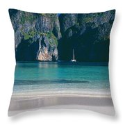 Rock Formations In The Sea, Phi Phi Throw Pillow