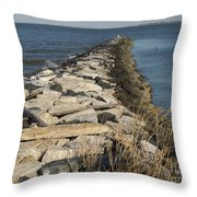 Rock Jetty At Sandy Point Throw Pillow