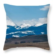 Rocky Mountains Road Throw Pillow