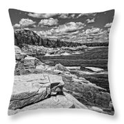 Rocky Summer Seascape Acadia National Park Photograph Throw Pillow
