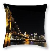 Roebling Suspension Bridge Pano 3 Throw Pillow