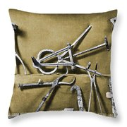 Roman Surgical Instruments, 1st Century Throw Pillow
