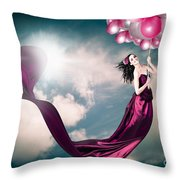 Romantic Girl In Love With Beauty And Fashion Throw Pillow