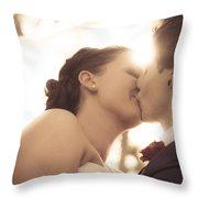 Romantic Wedding Kiss Throw Pillow