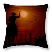 Ropin' The Moon Throw Pillow