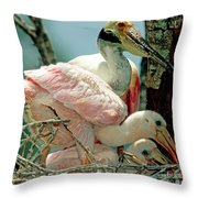 Roseate Spoonbill Adult With Young Throw Pillow