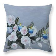 Roses And Candlelight Throw Pillow