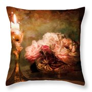 Roses By Candlelight Throw Pillow