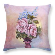 Roses In Ruby Vase Throw Pillow