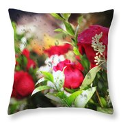 Roses In The Rain Throw Pillow