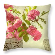Roses In Watering Can Throw Pillow