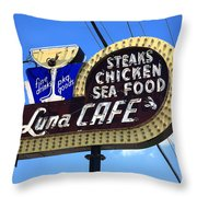 Route 66 - Luna Cafe Throw Pillow