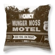 Route 66 - Munger Moss Motel Sign Throw Pillow