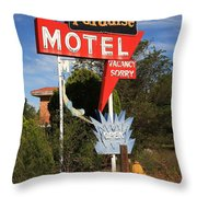 Route 66 - Paradise Motel Throw Pillow by Frank Romeo