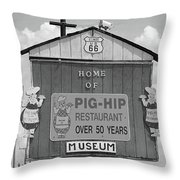 Route 66 - Pig-hip Restaurant Throw Pillow by Frank Romeo