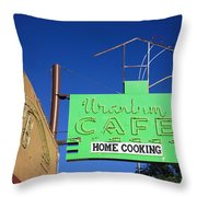 Route 66 - Uranium Cafe Throw Pillow