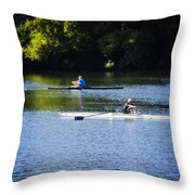 Rowing In Philadelphia Throw Pillow by Bill Cannon