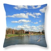 Rowing On The Thames At Hampton Court Throw Pillow