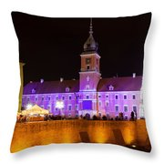 Royal Castle In Warsaw At Night Throw Pillow