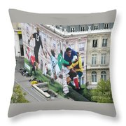 Rugby In Paris Throw Pillow