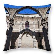 Ruins Of Carmo Convent In Lisbon Throw Pillow