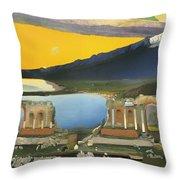 Ruins Of The Greek Theatre At Taormina Throw Pillow