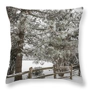 Rural Winter Scene With Fence Throw Pillow