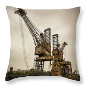 Rusty Cranes At Battersea Power Station Throw Pillow