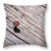 Rusty Nail In An Old Wooden Board Throw Pillow