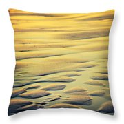 Rythm On Sand With Wave On Sea Coast At Sunset Color Throw Pillow
