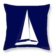 Sailboat In Navy And White Throw Pillow