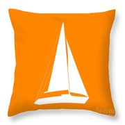 Sailboat In Orange And White Throw Pillow