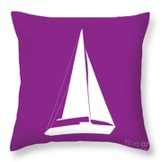 Sailboat In Purple And White Throw Pillow