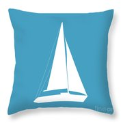 Sailboat In White And Turquoise Throw Pillow