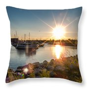 Sailboat Pier In Lake Michigan Nature Scenary Near Racine Wisconsin Throw Pillow